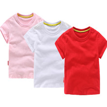 Hot Summer 2017 Cotton Top-grade T-shirts Boys Girls Wear t-shirts Short Sleeve Kids Baby Boys T-shirt Solid Color High Quality