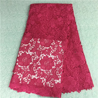 2016 african lace Cotton materials African cord lace High quality Guipure lace for Fabrics for sewing accessories in red HR2-79