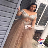 Champagne Prom Dress Plus Size 2019 Long Sleeve Beaded Sexy Evening Gown for women Off Shoulder Cocktail Dress выпускное платье