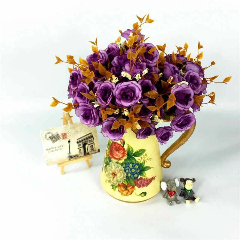 1 bouquet 7 garpu 14 kepala 30 cm Rose Bunga Buatan Simulasi Sutra Bunga Pesta Pernikahan Hari valentine Rumah dekorasi