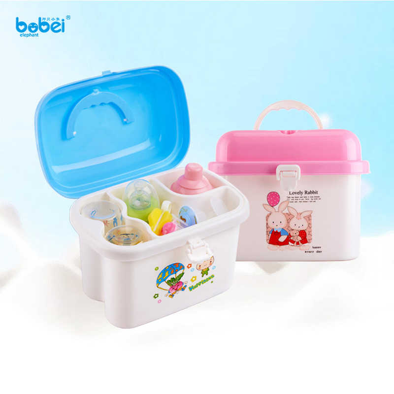 new baby kids children portable bottle drying racks with Anti-dust cover large nursing bottle storage box baby dinnerware