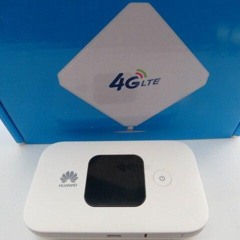 Huawei Mobile Wifi E5577s-321 grande batterie (blanc) + 35dbi antenne 4G intérieure à gain élevé omni