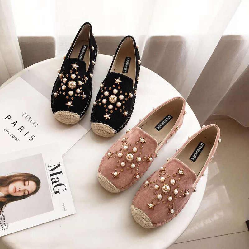Wellwalk Loafers Women Shoes Fashion Ladies Hemp Espadrilles Shoes Ladies  Creepers Women Loafers Flats Ballet Female cccbf883c23c