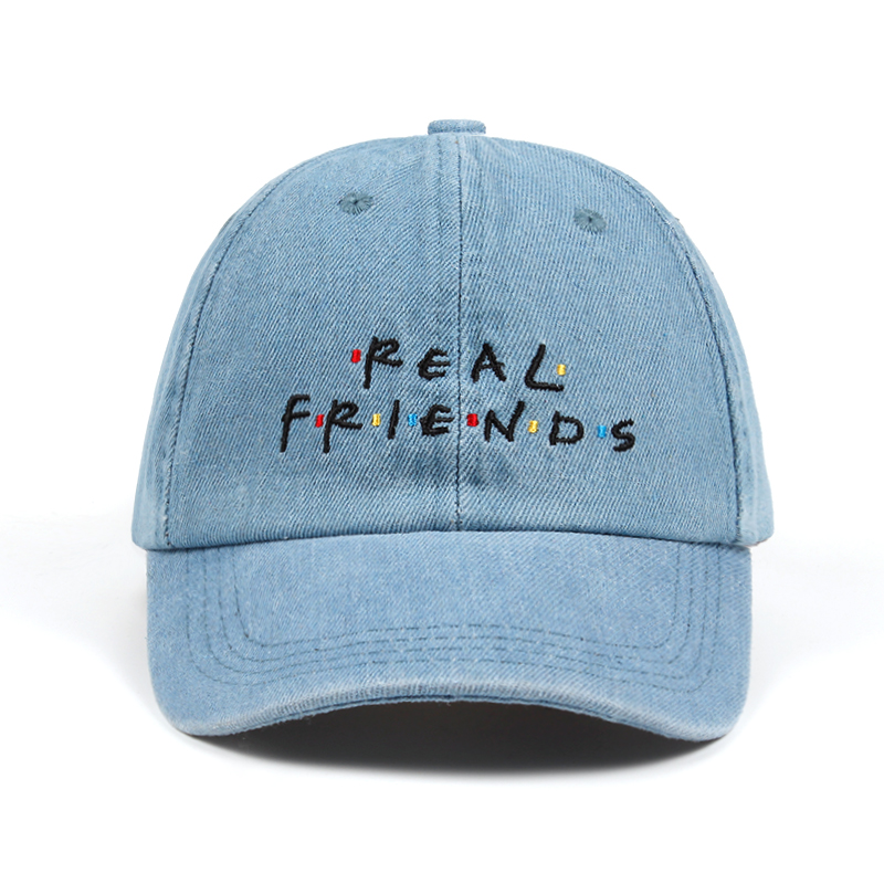 cdccc00fea7 Washed Denim Real Friends Hat Trending Rare Baseball Cap I Feel Like Pablo  Dad H
