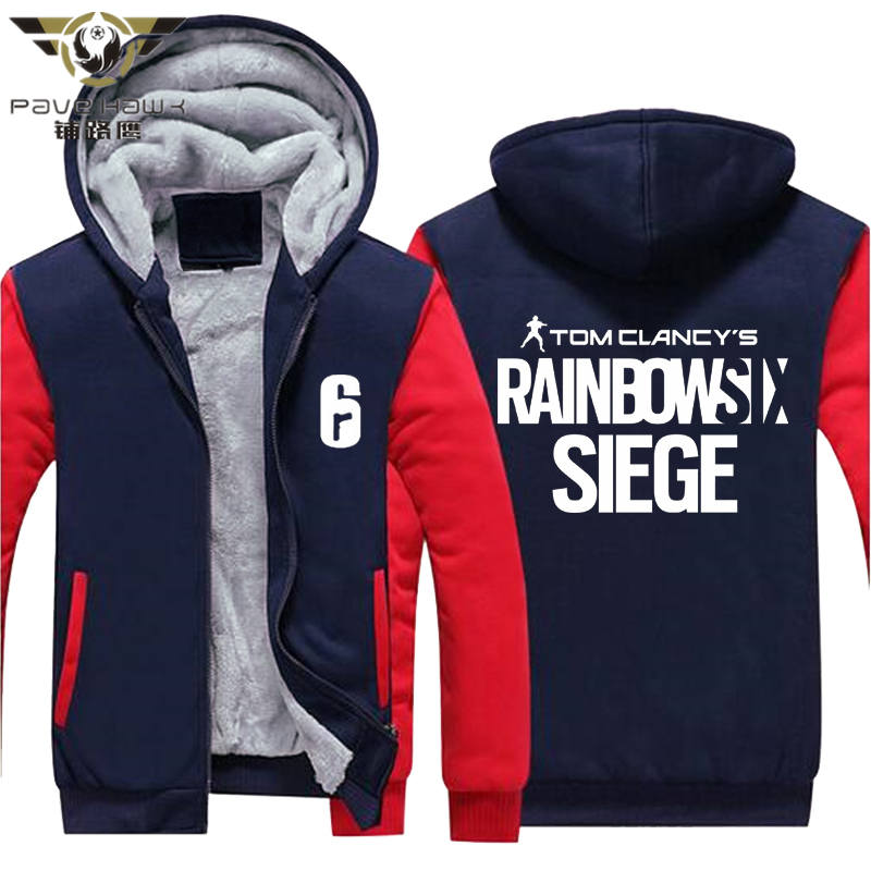Rainbow Six Siege Hoodie Men's Winter Casual Super Warm Thicken Fleece Zip Up Sweatshirt Coat USA EU Size