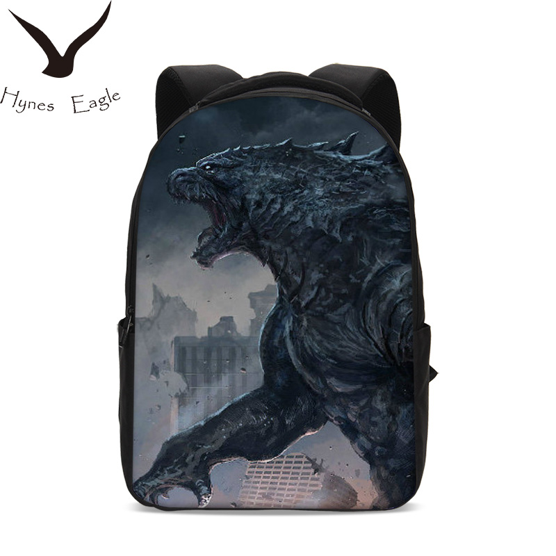 купить Hynes Eagle Brand Oxfords Backpacks Men Women Godzilla Monster Printing School Bag Travel Bag Casual Rucksack Laptop Backpacks по цене 4199.53 рублей