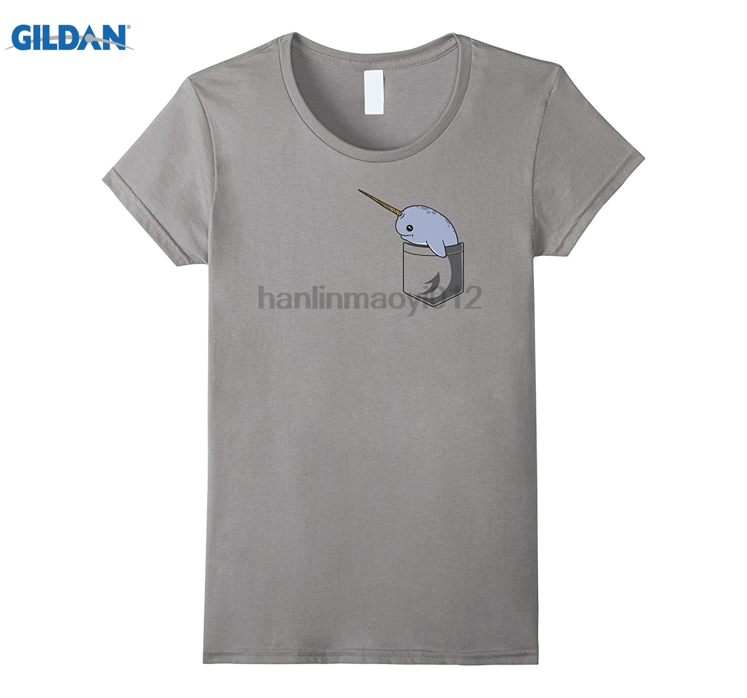 GILDAN Cute Narwhal T-Shirt - Pocket Narwhal Shirt Dress female T-shirt