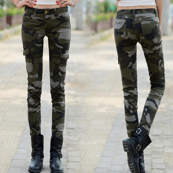 new fashion skinny jeans woman long pencil Camouflage pants casual pants trousers