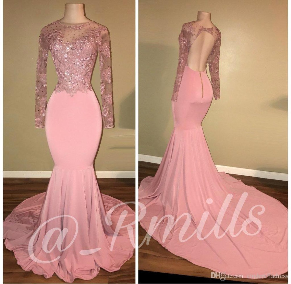 Real Photo Pink Lace Mermaid   Prom     Dresses   2019 Sexy Backless Beading Appliques Party   Dresses   Long Sleeves vestido de festa