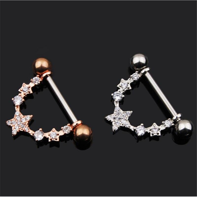 2PCS Hot Sale Fashion Style Dangle Nipple Rings Stainless Steel Women Pentagram Bar Barbell Piercing Nipple Rings Body Jewelry