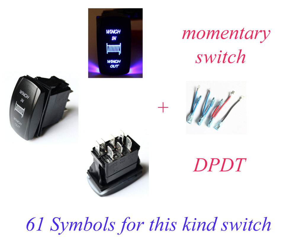small resolution of winch in winch out momentary rocker switch blue led dpdt on off on terminal cables wiring set for car boat waterproof