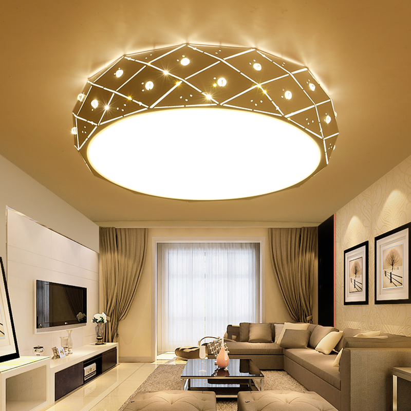 Modern LED ceiling lamp Acrylic bedroom lights Iron study lamp dimmable living room lamp AC110-260V white Circular indoor light