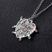 Movie Stranger Things Necklace Friends Dont Lie light bulb Letter Pendant Necklaces Women Men Cosplay Jewelry