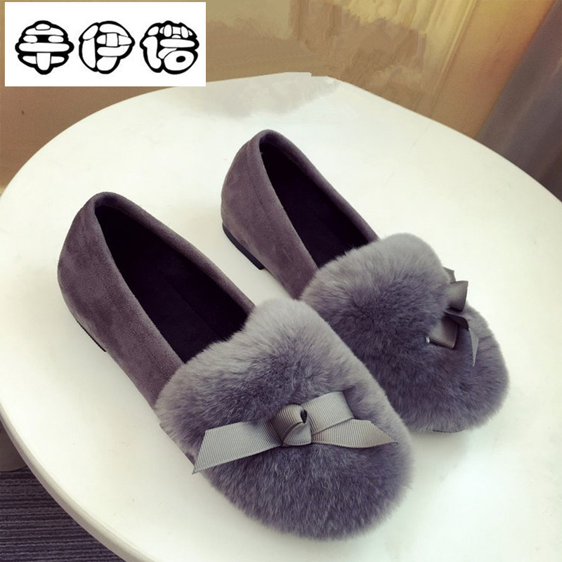 цена  New Autumn Winter Women Ballet Flats Lovely Bow Warm Fur Comfort Cotton Shoes Woman Loafers Slip On Size 40 Free Shipping  онлайн в 2017 году