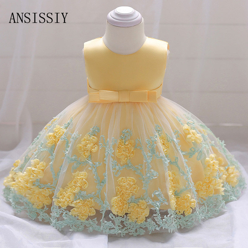 Baby Girl 1 Years Birthday Party Tutu Dresses for Toddlers Vestidos Infantil Ruched Floral Princess Wedding Baptism Clothing