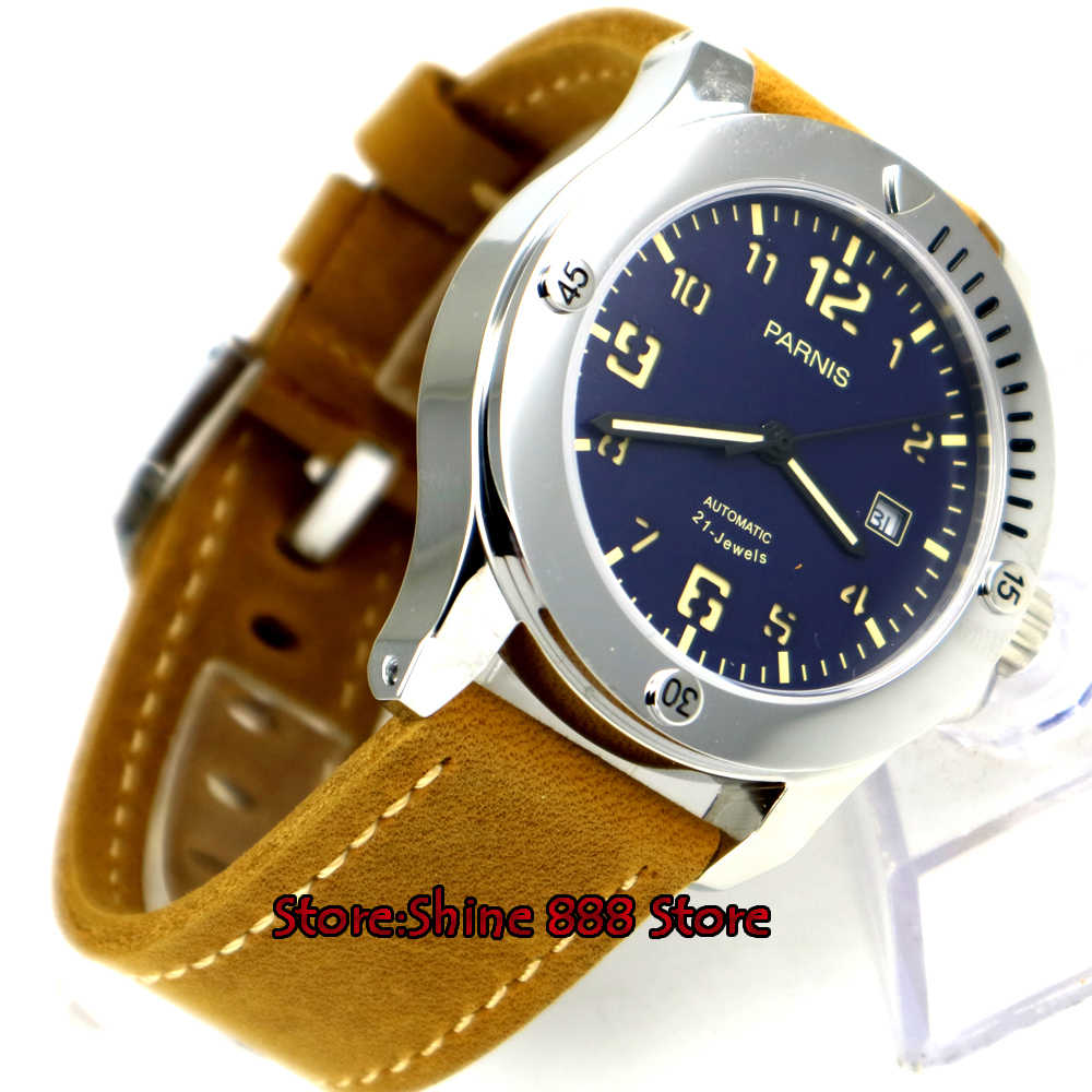 43mm parnis blauwe wijzerplaat datum sapphire crystal miyota 821A automatic mens watch