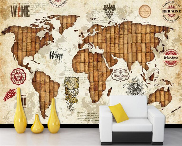 World Map Retro Wallpaper. beibehang papel de parede wall paper Retro personality wallpaper world map  red wine oak plug restaurant bar back Online Shop