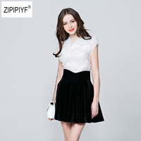 2018 New summer elegant organza bow White Black blouse casual shirt women Short Sleeve blouses Slim tops blusas femininas B1086