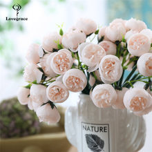 Wedding Bridesmaids Bouquets Tea Rose Wedding Centerpiece Mini Peony Flower Bunch Wedding Brides Holding Floral Bouquet 27 Heads(China)