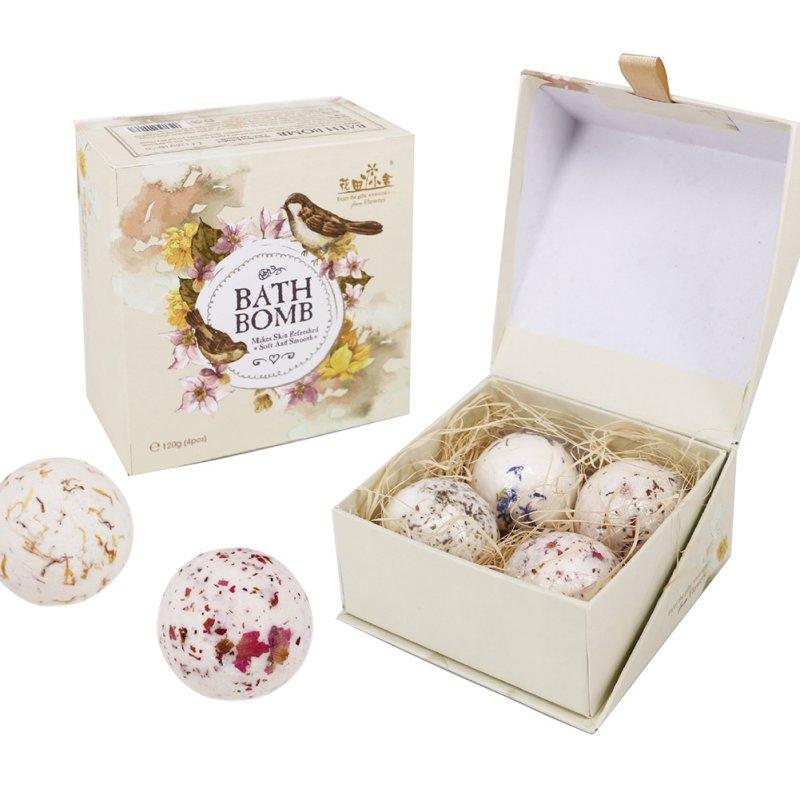 4pcs/set Bath Bomb Ball Lavender Handmade Sea Salt SPA Bath Explosive Salt Dry Flowers Series Of Effervescent Bath Salt Ball