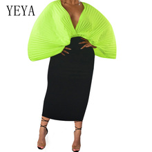 YEYA Womens Dresses New Arrival Sexy Deep V Neck Hollow Out Pleated Dress Elegant Vintage Bodycon Solid Summer Chiffon