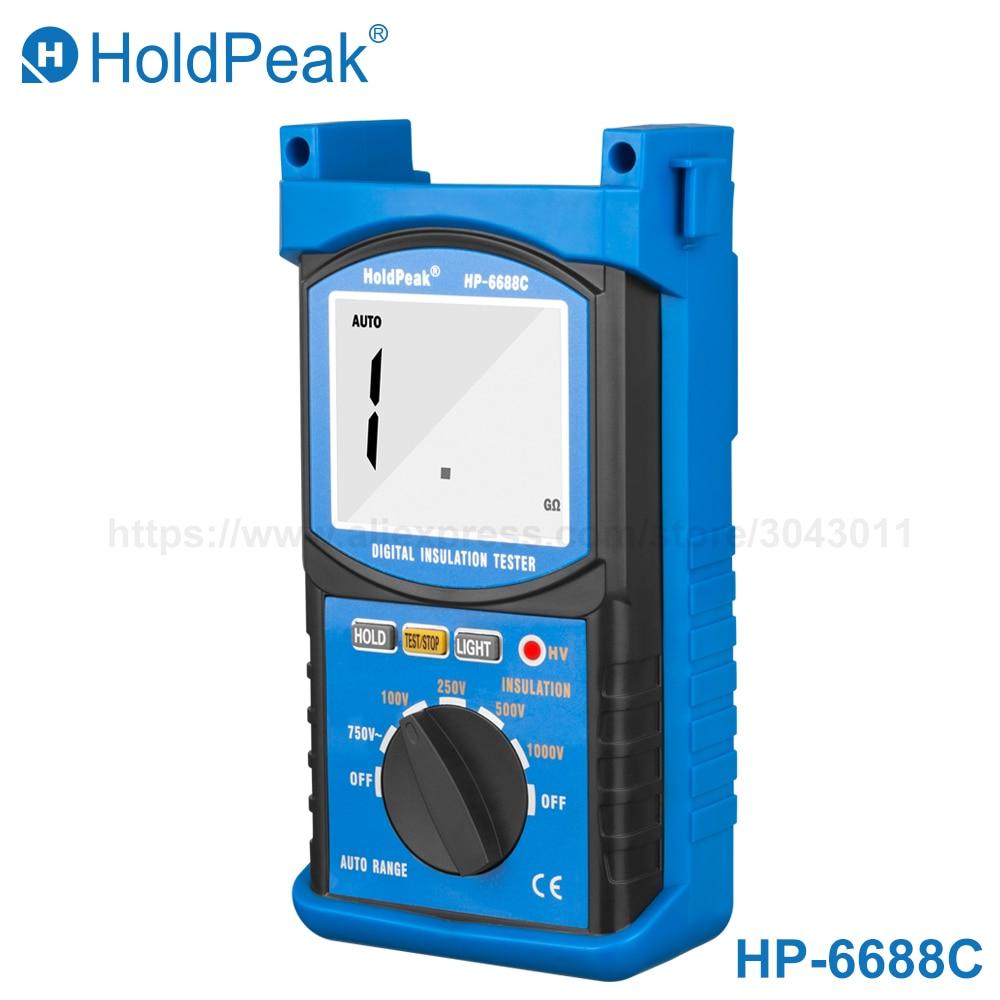 HoldPeak 6688C Digita isolatsioonitakistuse testerite takistusmõõturid100 / 250/500 / 1000V Megger Megohmmeter Voltmeter Tasuta kohaletoimetamine
