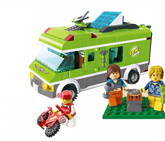 Enlighten Building Blocks Trip City Car Educational Family Happy Journey Truck Kids Gifts Sets Compatible with Lego enlighten city express station truck building blocks set courier minifigures kids educational toys compatible with legoep