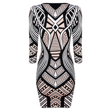 INDRESSME Fashion Print Three Quarter Sleeve Women Bandage Dress Casual O Neck Mini Bodycon Women Dress Vestidos Clearance