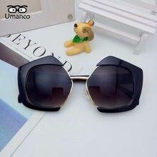 f59be3f360a1c Poligonal Umanco Na Moda óculos de Sol Das Mulheres Dos Homens Metade Lente  Gradiente Óculos Espelho Sombreamento Óculos de Pres.