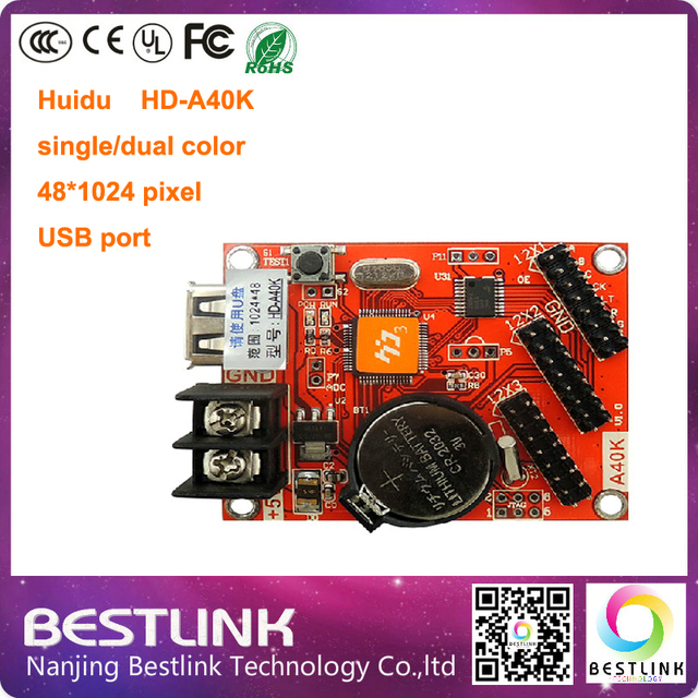 LED controller card HD-A40K 48*1024 pixel HD-U6B single/dual color controller p10 outdoor led sign board message sign diy kit