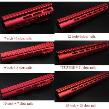 TriRock 7'' 9'' 10'' 12'' 13.5'' 15'' Red Free Float Rail Mount Keymod Handguard Steel Barrel Nut Rail Fit AR-15 / .223 /5.56