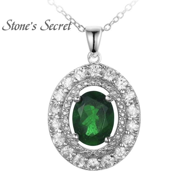 115ct oval russian chrome diopside with 97ctw round white zirconia 115ct oval russian chrome diopside with 97ctw round white zirconia silver pendant with chain aloadofball Images