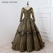 Long Sleeve Dubai Arabic Ball Gown Elegant Women Formal Black and Gold  Evening Dress 2018 ANGEL NOVIAS Robe Rouge Longue 957e369cbcff