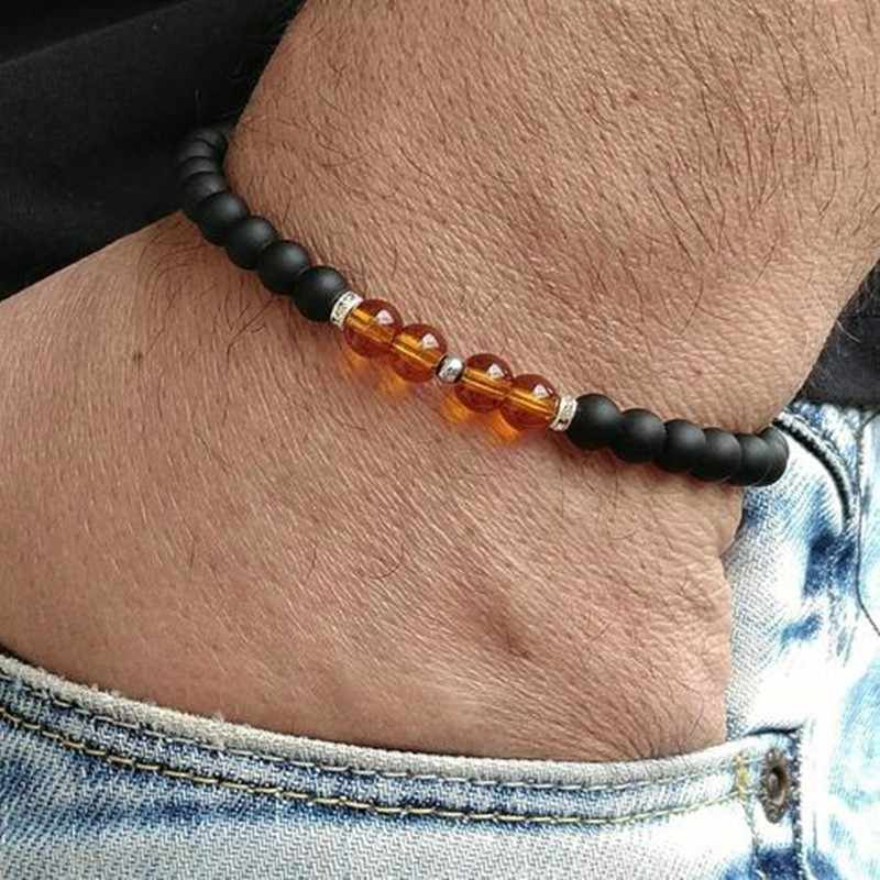Nowa modna męska bransoletka biżuteria dla kobiet handmade luksusowe kamienne bransoletki z koralików i bransolety dla mujer hombre pulseira joyas prezent