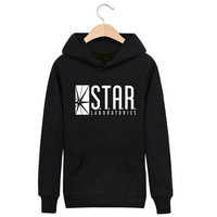 The Flash Barry Allen Star Lab Labs Hoodie Mens Pullover Sweatshirt Novelty Heroes 2016 Male Clothes