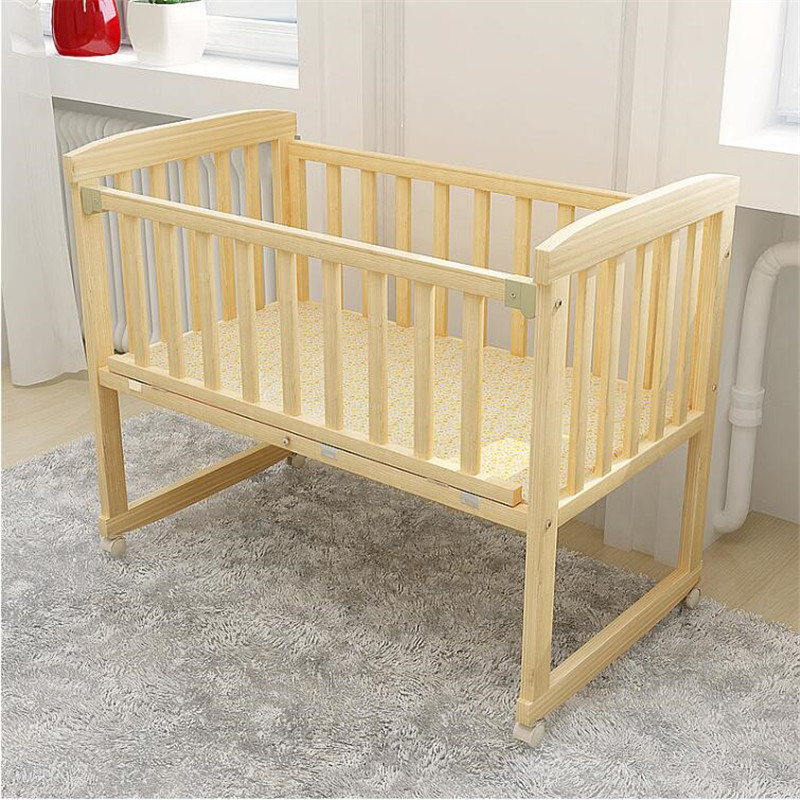 Berceaux bébé berceau en bois naturel peut changer pour bureau chaise à bascule lit enfants 0-3 ans bébé (cadeau gratuit: moustiquaire) - 3