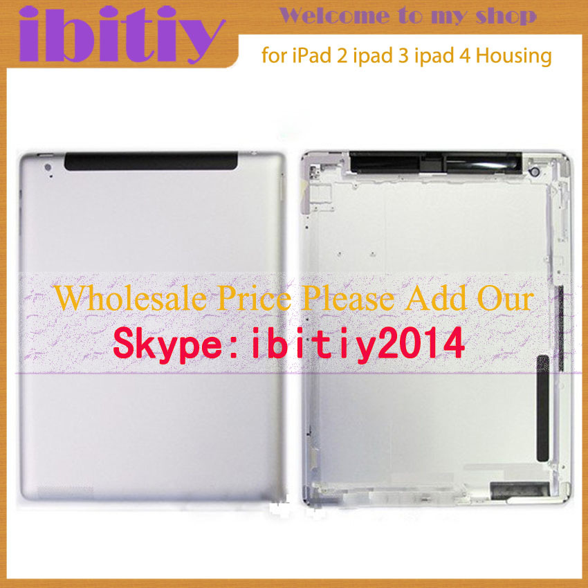 high quality For iPad 2 ipad 3 ipad 4 Back housing Wifi or 3G Version Back Cover Rear Case 64GB 32GB 16GB Free+Logo