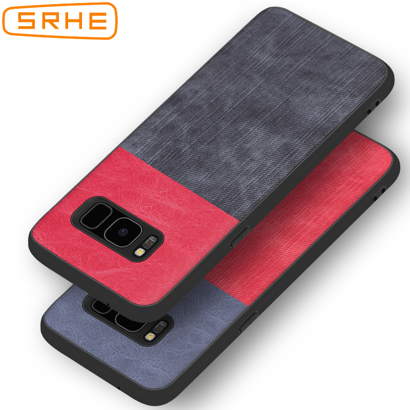 SRHE For Samsung Galaxy S8 Plus Case Cover PU Leather and Denim Soft Silicone Full Back Cover For Samsung Galaxy S8 S8Plus