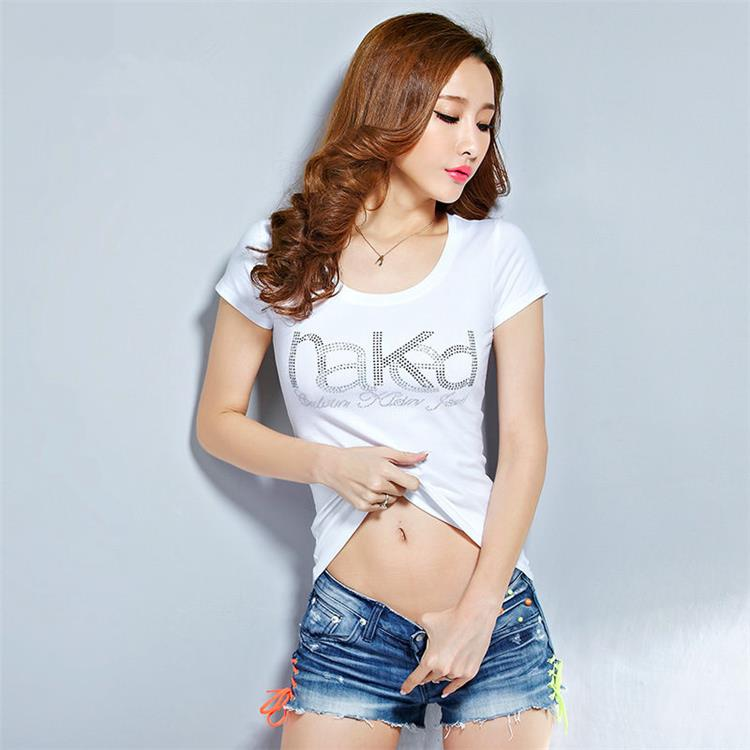 2015 New Womens T Shirt For Teen Girls Diamond O Neck Sexy Thin T Shirt Plus Size -9734