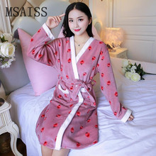 Женский Длинный банный халат с цветочным рисунком, Фланелевое кимоно, банный халат, свадебные халаты, пеньюар