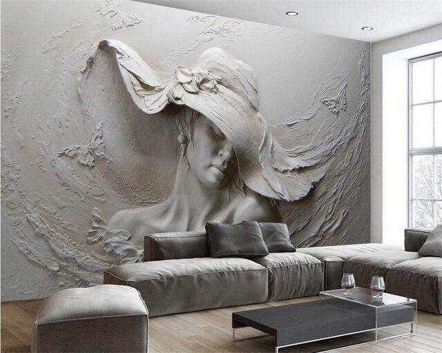Beibehang Custom 3d Foto Tapete Relief Schönheit Küche Wohnzimmer ...