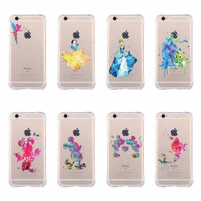 cheap for discount a4bb6 84a51 US $1.37 |For iPhone 6 6s Soft Phone Covers Cute White Snow Princess Angel  Mermaid Mickey Minnie Cartoon Transparent Cases For iPhone 6 6s-in Phone ...