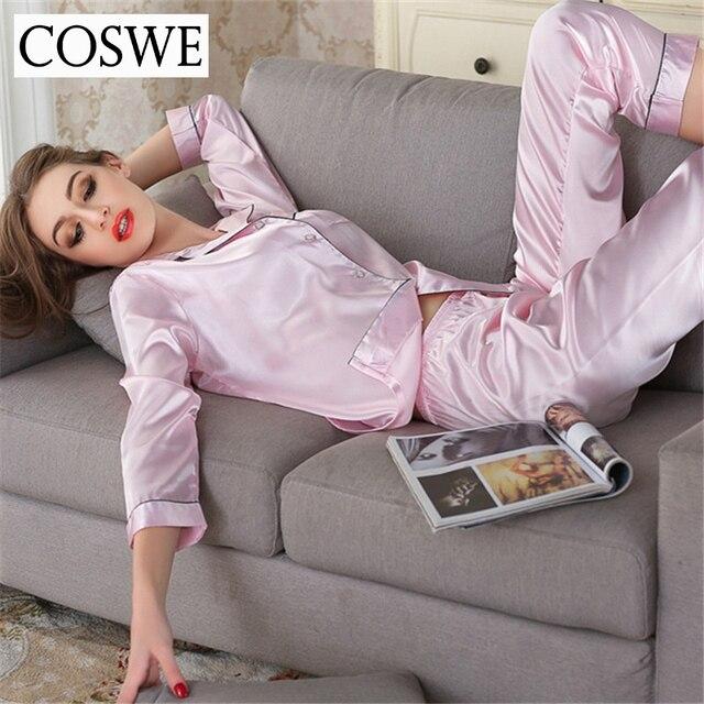 Pajamas Set Solid Imitation Silk Pajama Feminine Casual Female Pajama 3 Colors