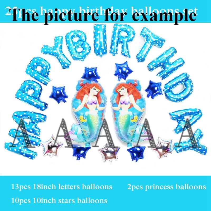 free shipping foil Ariel balloons princess little mermaid balloons 30pcs/set hap
