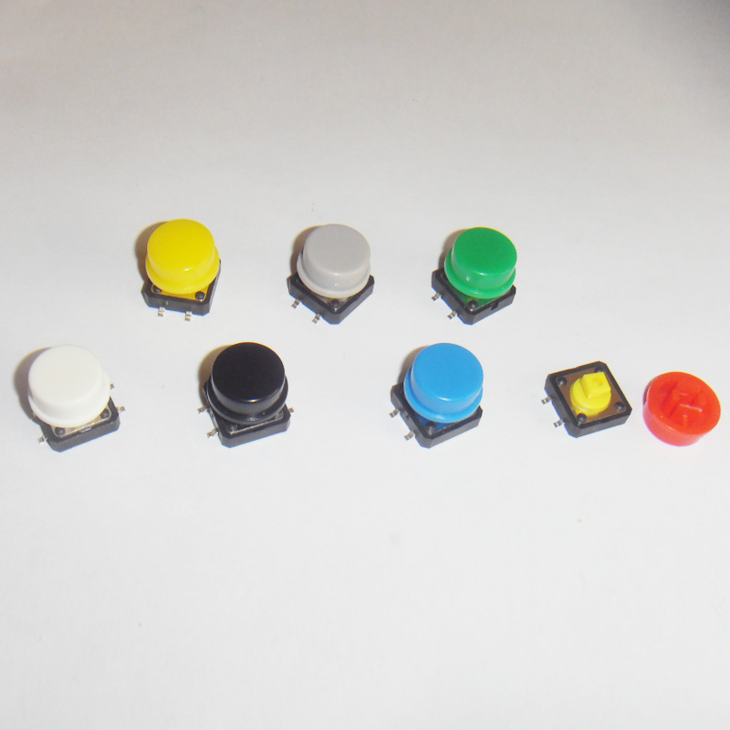 140pcs/lot 12*12*7.3mm Smd Tactile Push Button With Colorful Cap Tact Switches 12x12mm