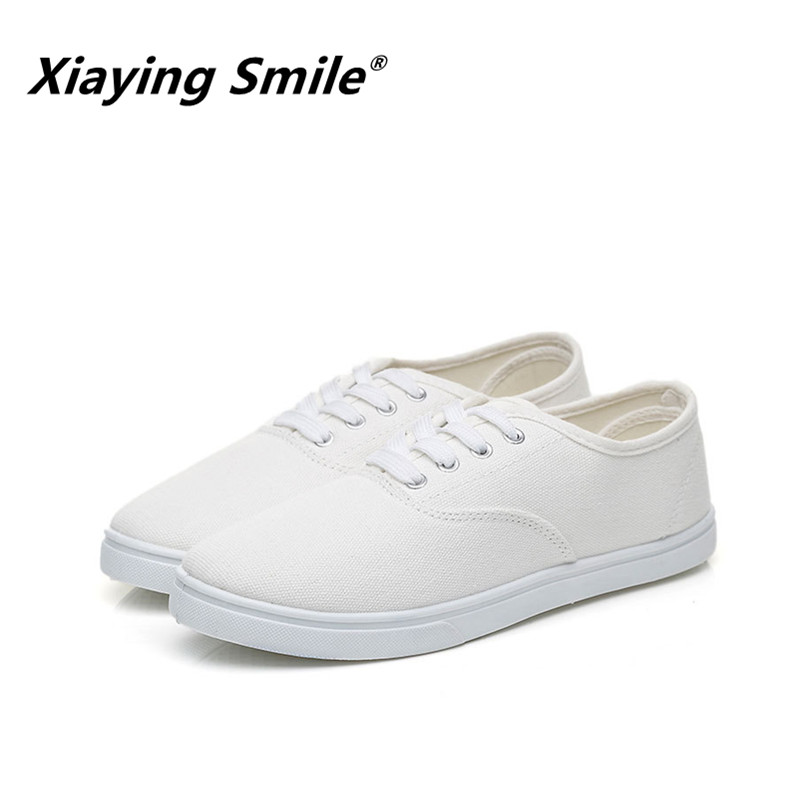 Xiaying Smile Women Canvas Shoes Lace Up Casual Shoes Woman Flats White Shoes Candy Color Breathable shoes Ladies Fashion Brand real pic high color decorative rivets women casual shoes brand designer lace up comfortable women flats shoes woman