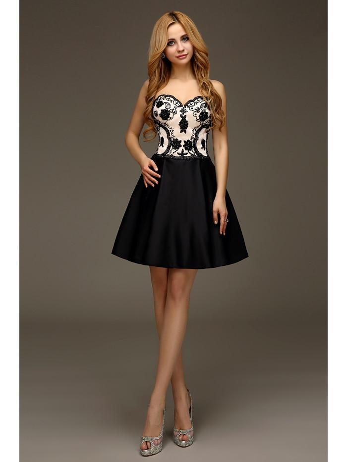 Imágenes reales vestidos de fiesta cortos negro desnudo dos tonos listones de satén espalda abierta 2016