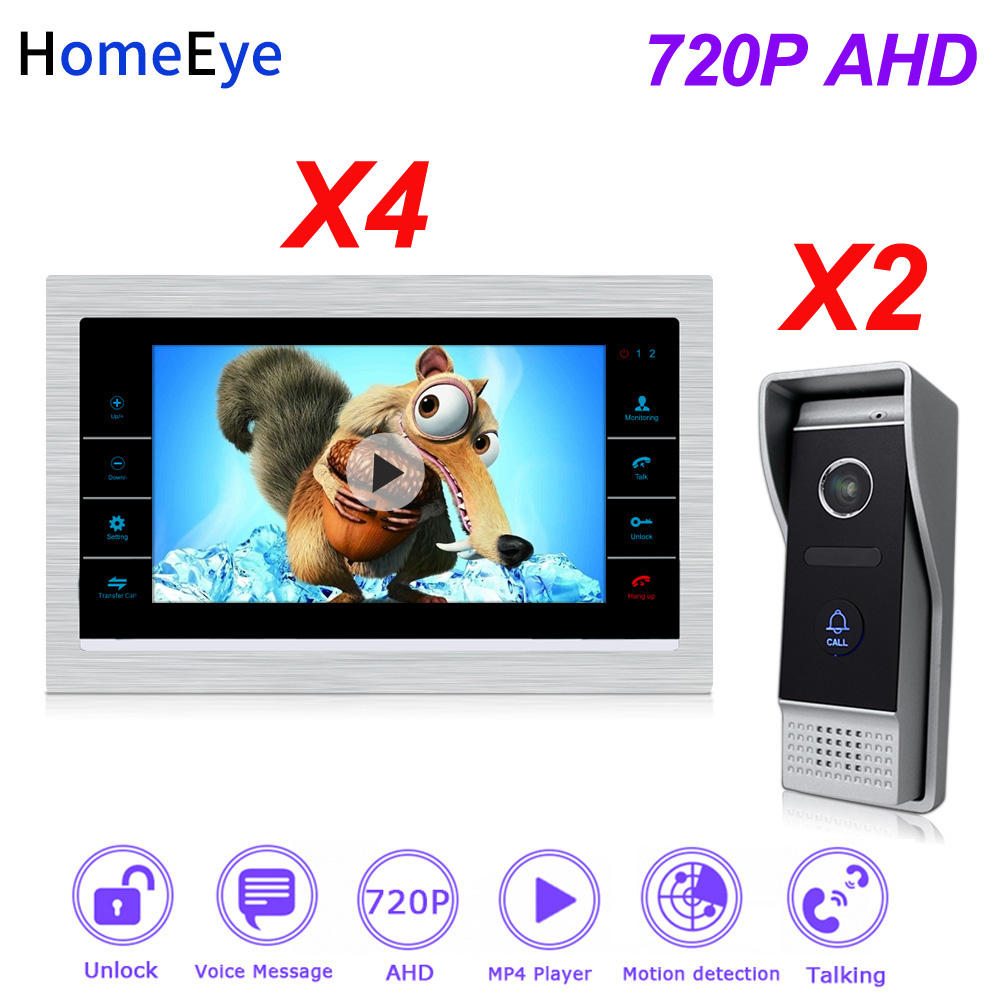 HomeEye 2 Doors Home Access Control System 720P HD Video Door Phone Video Intercom Touch Screen Voice Message Customize Ringtone