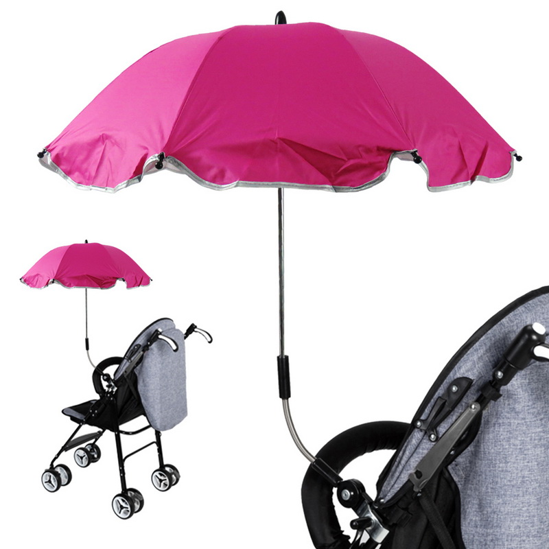 8k Unbrella Children Baby Cart Mount Holder Flexible Folding Umbrella UV Protection Big Straight Stroller Umbrellas Rain Z511