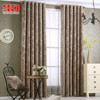 Modern Chenille Grey Curtains for Living Room Luxury Fabric Geometric Drapes for Bedroom Silver Lines Tents Window Treatment